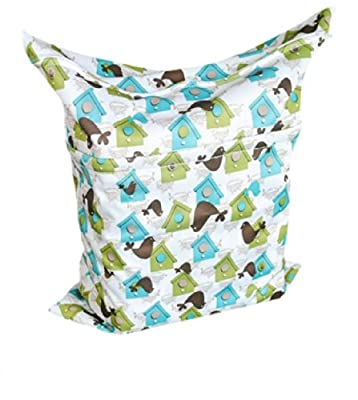 Print Baby Cloth Diaper Waterproof Zippered Wet/Dry Bags, Houses