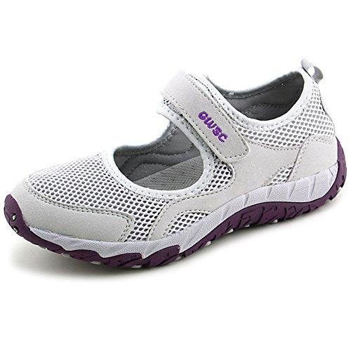 Scurtain Womens Old Aged Casual Antislip Walk Velcro Ademende Flats Sneaker Schoenen Lichtgrijs