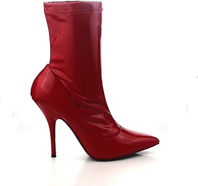 c6bbaea7857 Cape Robbin Glossy RED Patent Pointed Toe Stiletto Stretch Fitted Ankle  Boots (6)
