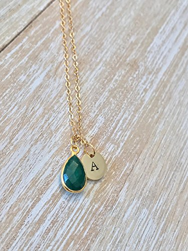 Emerald May birthstone initial necklace gemstone jewelry monogram handstamped jewellery pendant