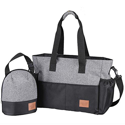 Stylish Diaper Bag Organizer for Moms, Plus Baby Tote Insulated Bottle Sack (Heather Grey + Black)