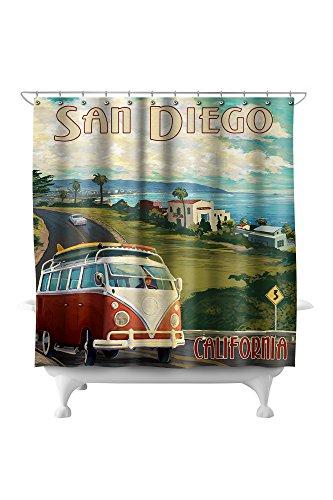 San Diego, California - Camper Van Cruise 44944 (74x74 Polyester Shower Curtain) (Crate & Diego Barrel San)