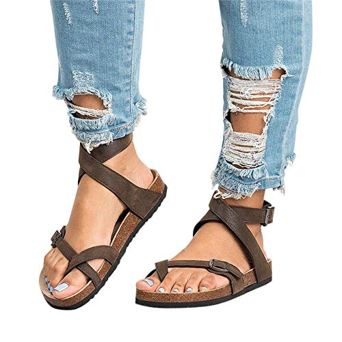 (Chenghe Women's Fashion Flat Ankle Buckle Sandals Gladiator Thong Flip Flop Mayari Sandals Brown US)