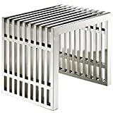 Modway Small Gridiron Stainless Steel Bench, Silver