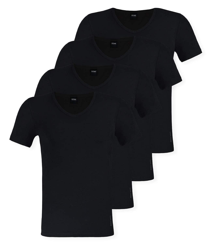 SchwarzBOSS Hugo 4er Pack Herren Slim Fit T-Shirt, V-Neck, Unterhemden Halbarm, Uni