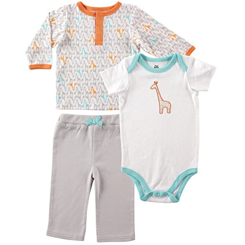 Yoga Sprout Unisex-Baby Giraffe Collection Long Sleeve Tee Top Pant and Bodysuit Set, Gray/Orange, 0-3 Months