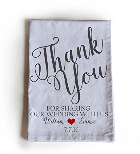 Amore Beaute hecho a mano personalizada boda toalla de té con mensaje gracias por compartir nuestra boda con nosotros 70 x 70 cm Handloom algodón Toallas de ...