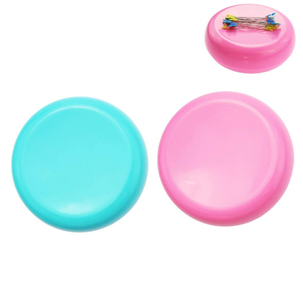Computer accessories - 2pcs Round Shaped Magnetic Needle Holder Pin Cushion Storage Box Sewing Accessories by trang tri