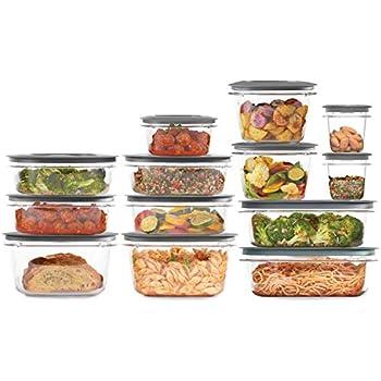 Rubbermaid 2108373 Meal Prep Premier Food Storage Container, 28 Piece Set, Grey