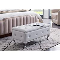 Kings Brand Furniture - White Vinyl Tufted Design Upholstered Storage Bench Ottoman