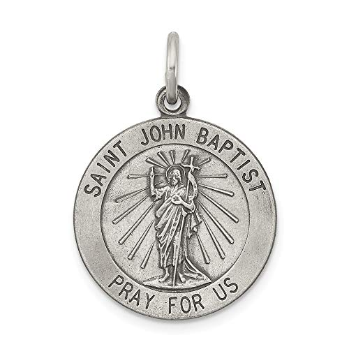 Solid 925 Sterling Silver Charm Pendant Antiqued Saint John The Baptist Medal (25mm x 20mm)