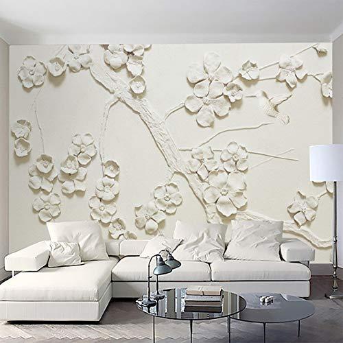 YJFBH Customize Any Size 3D Mural Wallpaper Beautiful Embossed Plum Blossom Wallpaper Living Room Tv Sofa Waterproof Wallpaper Mural