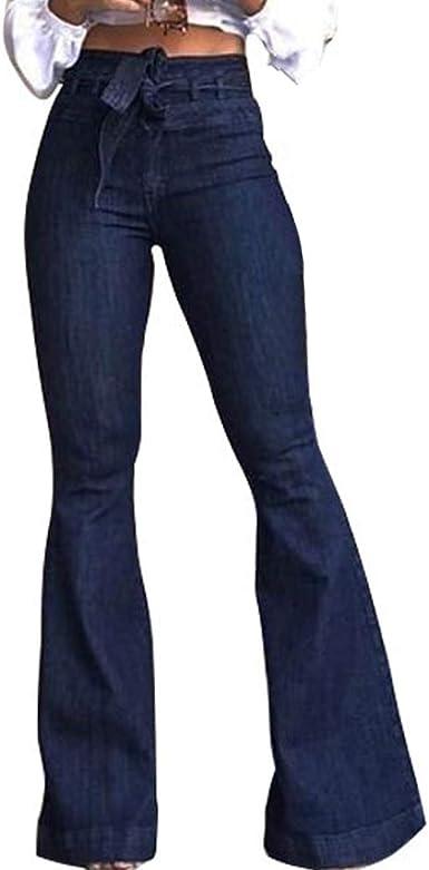 Mibuy Pantalones Mujer Anchos, 2020 Moda Vaqueros Cintura Alta ...