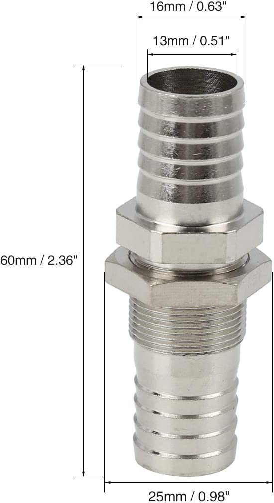 X AUTOHAUX 3//8 NPT 16mm Male Thread Fitting Brass Hose Barb Tail Connector Zinc Plated