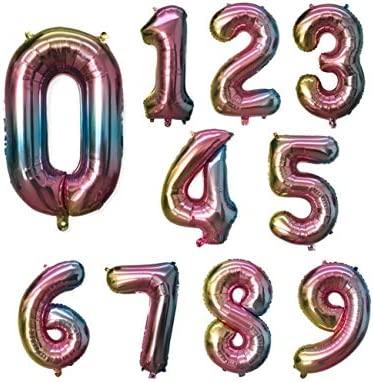 WSJQQ 1 Unids 32 Pulgadas Rainbow Número Globos 0 1 2 3 4 5 ...