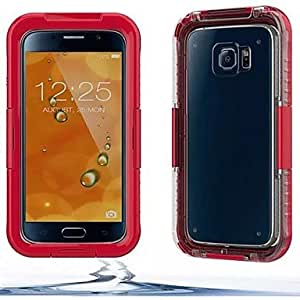 ZX IP68 Waterproof Protective Plastic and Silicone Shell Case for Samsung Galaxy S6/S6 edge , Red