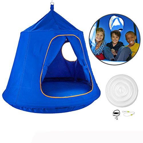OrangeA Hanging Tree Tent Blue Hanging Tree Tent for Kids 46 H x 43.4 Diam Hanging Tree House Tent Waterproof Portable Indoor or Outdoor Use with Led Decoration Lights (Hammock Chair Tent)