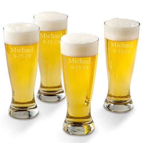 Beer Glass Set of 4 Glasses - 2 Lines (Grand Pilsner Glass Set)