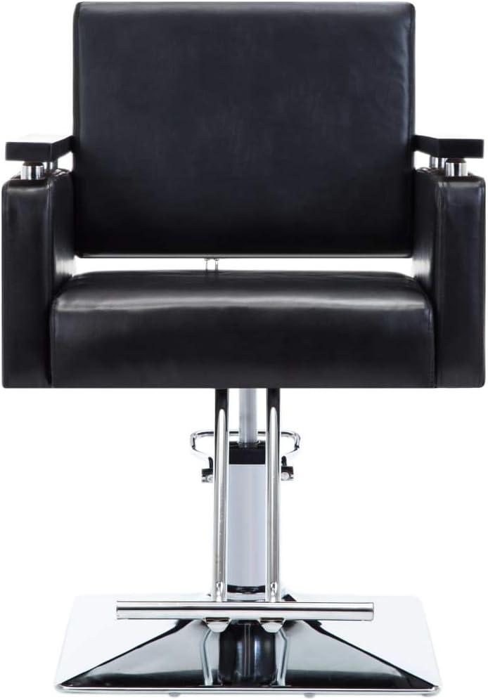 Nishore Silla de Peluquería Sillón Peluquería con un Pedal Reposapiés, Cuero Sintético Negra, Ideal para su Uso en Salones de Belleza, Peluquerías, 60,5 x 85 x (78-87) cm
