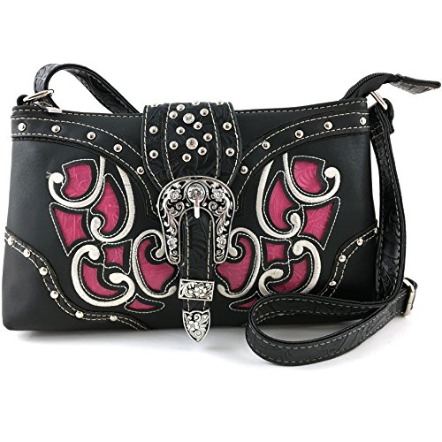 Justin West Western Tooled Laser Cut Rhinestone Buckle Messenger Bag Purse with Long Crossbody Strap (Black Hot Pink) (Pink Western Purse Hot)