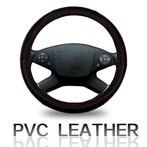 Cover 15 Inch Universal PVC Semi-PU Leather - Black with Red Line Grip Steering Wheel Cover ()
