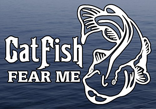 Catfish Fear Me Fishing Fresh Water Background Full Color window decal sticker