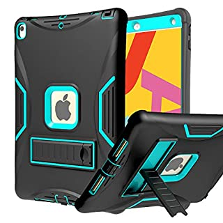 """SUPWANT New iPad 7th Generation 10.2"""" Case 2019 with Built-in Screen Protector, Kickstand - Full Body Rugged Shockproof Protective Stand Case Cover for Apple iPad 7th Gen 10.2 Inch, Black"""