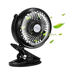 Elechomes EH101 Rechargeable Operated Clip on Mini Desk USB Fan for Home Office Baby Stroller Car Laptop Study Table Gym Camping Tent, Black