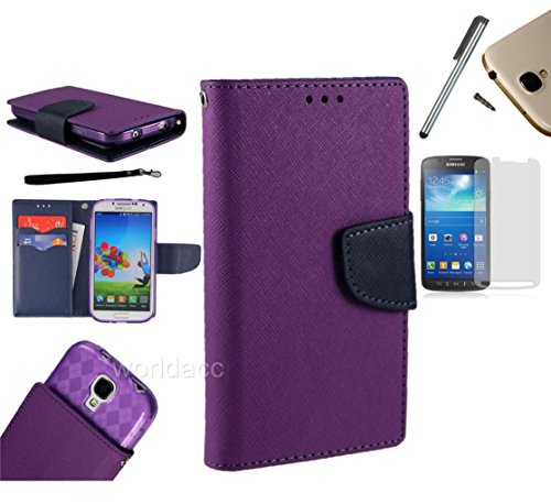 For Motorola Droid Razr M / Motorola Droid Luge XT907 (Verizon Wireless) PU Leather Flip Cover Folio Book Style Pouch Card Slot Myjacket Wallet Case + [WORLD ACC®] Brand LCD Screen Protector + Stylus Pen + Black Dust Cap Free Gift (Pu Leather Wallet Purple/ Navy Blue)