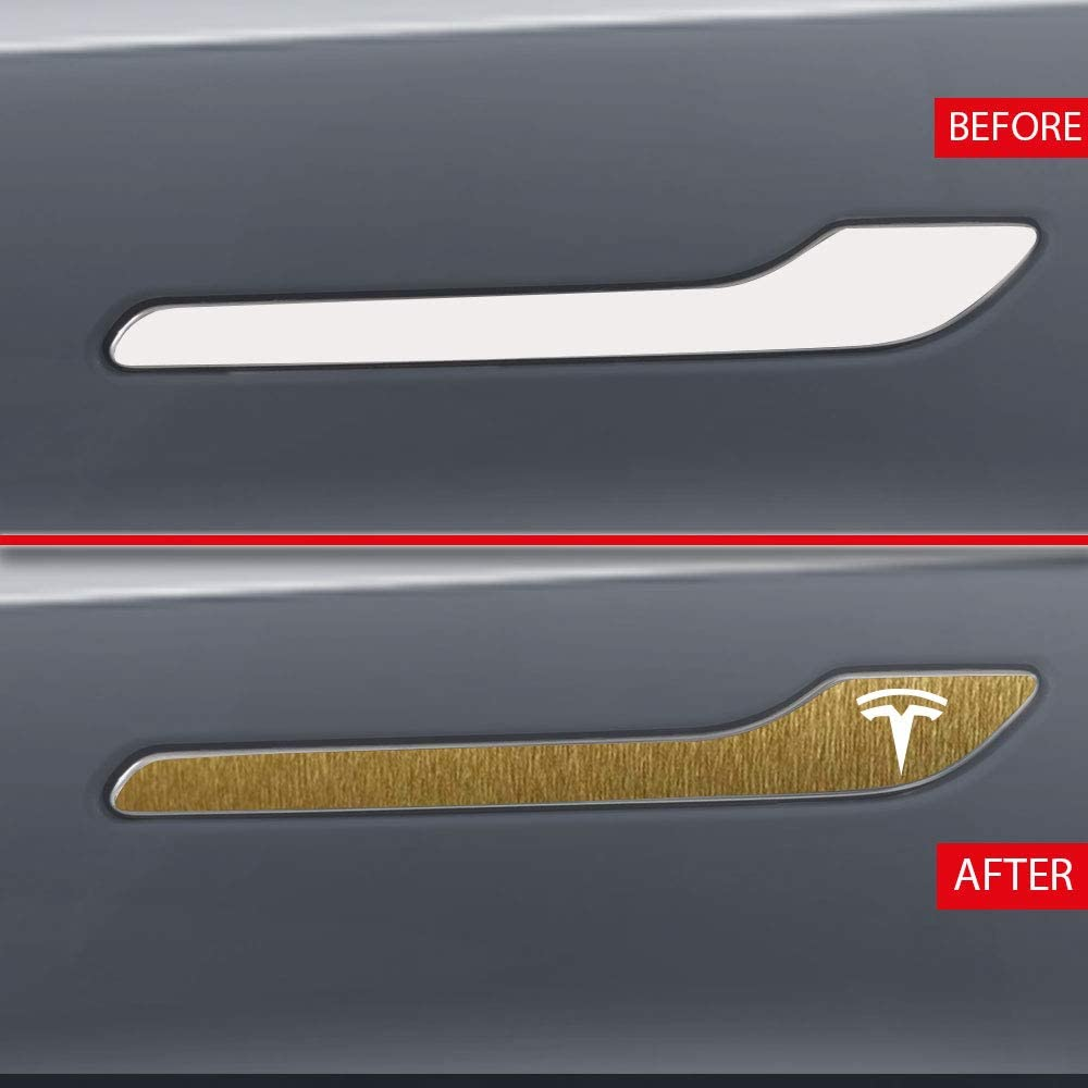 IPG for Tesla Model 3 Door Handle Decal Sticker Wrap Kit with Tesla Logo Set of 4