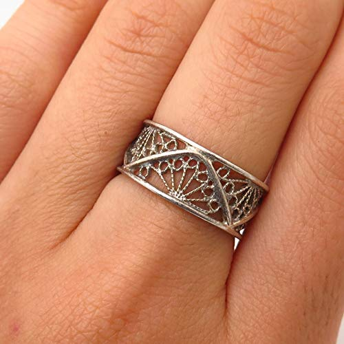 (VTG 925 Sterling Silver Filigree Design Band Ring Size 6 3/4 Jewelry by Wholesale Charms)