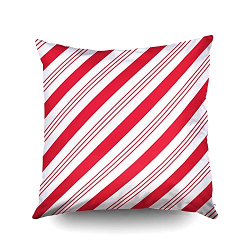 (KIOAO Christmas Pillowcase Standard 18X18Inches Square for Cushion Home Decorative, Christmas Holiday Winter Peppermint Cute Seasonal Decor Candy Cane Pillow Covers Printed with Both Sides of Cotton)