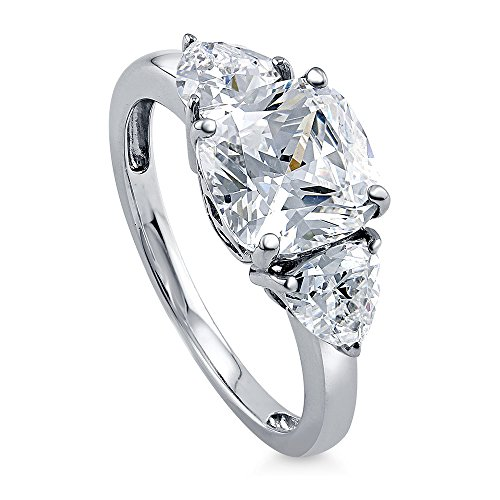 BERRICLE Rhodium Plated Sterling Silver Cushion Cut Cubic Zirconia CZ 3-Stone Engagement Ring Size 5 by BERRICLE