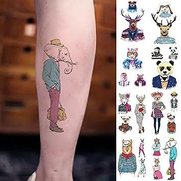 Oottati 8 Hojas Tatuajes Temporales Brazo Pierna Ciervo Oso Panda ...