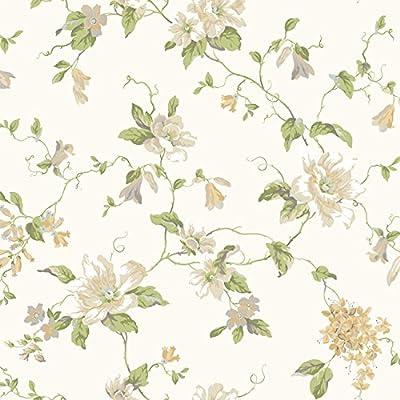 York Wallcoverings AK7452 Floral Trail Wallpaper, White