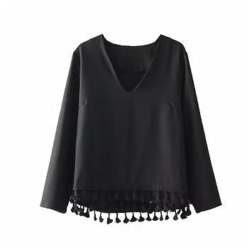 Señoras de moda Casual Camiseta cuello en V blusa holgada camiseta de Jersey todo el partido