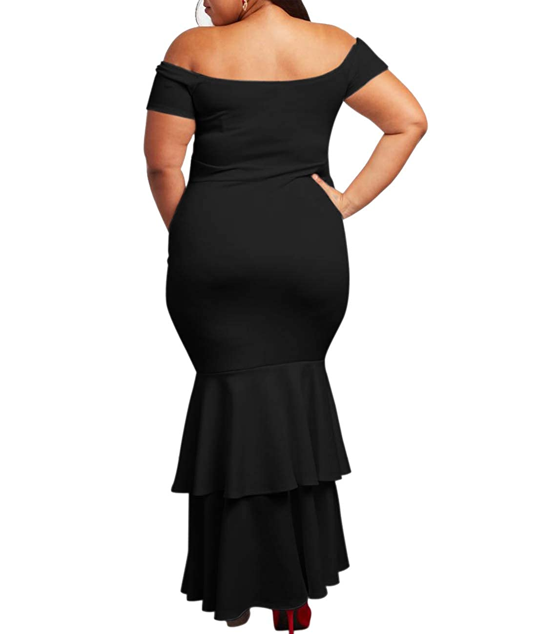 2880d4b7292 Lalagen Womens Off Shoulder Bodycon Ruffle Mermaid Plus Size Party Maxi  Dress at Amazon Women s Clothing store