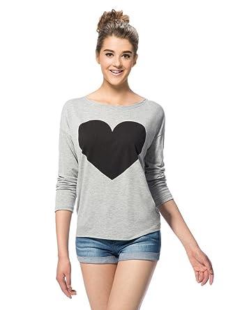 (ドレスウイェ) Doresuweグレーハート型長袖ラウンドネックTシャツ【並行輸入品