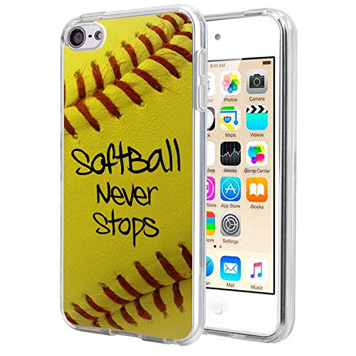 Matcase for I pod Touch 6 Case I pod Touch 5 - Softball Never Stops Crystal Clear Transparent Anti Scratch Resistant Shock Absorption Ultra Slim Fit Protective with TPU Bumper Hybrid Designer Case (Ipod Touch Designer Case)