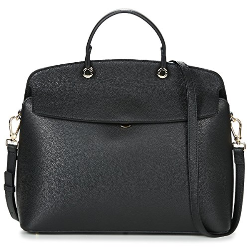 Furla My Piper Ladies Medium Black Onyx Leather Shoulder Bag - Furla Leather Bag