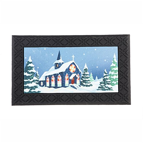 Evergreen Snowy Church Indoor/Outdoor Safe Entry Way LED Musical Doorway Mat, 30 x 18 inches ()