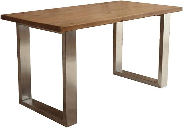 Mesa de comedor con patas de acero inoxidable en forma de U, Fernanda (Brown), 8 seater W180xD80xH75cm: Amazon.es: Hogar