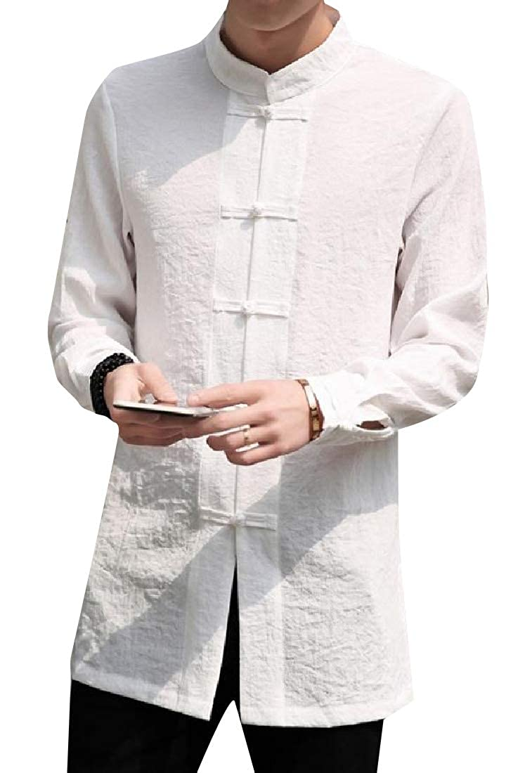 Abetteric Mens Regular Fit Thigh-Length Chinese Style Woven Shirt