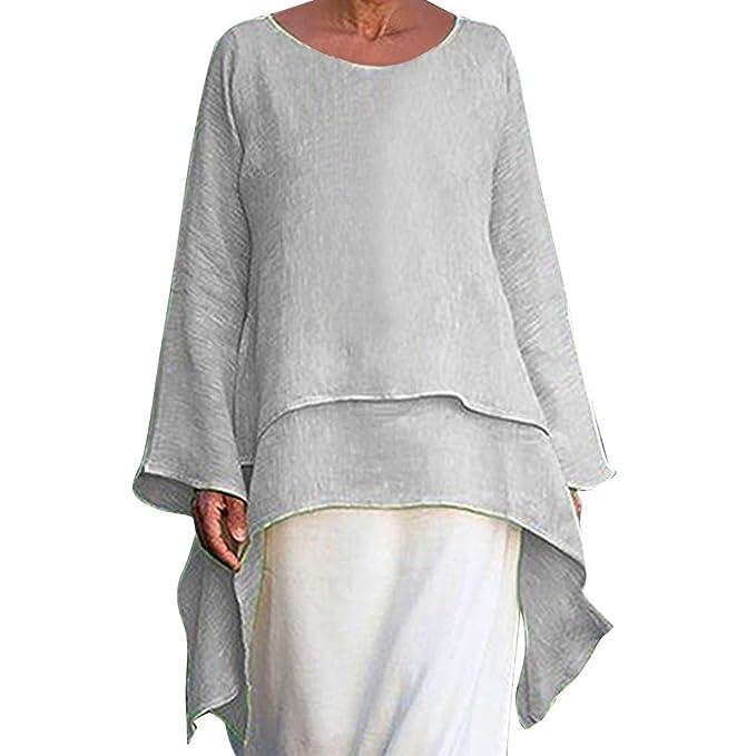 Amazon.com: Snowfoller - Blusa de lino de manga larga para ...