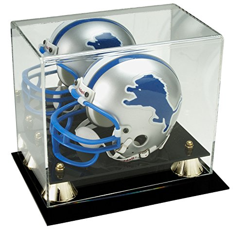 Deluxe-Acrylic-Mini-Helmet-Display-Case-w-Mirror-Back-Gold-Risers