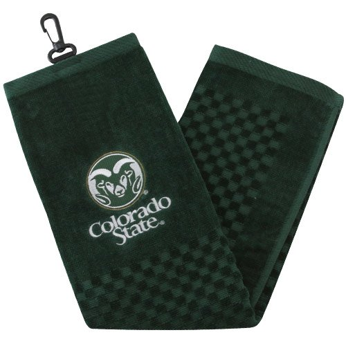 Team Golf NCAA Colorado State Rams Embroidered Golf Towel, Checkered Scrubber Design, Embroidered Logo Colorado State Rams Golf