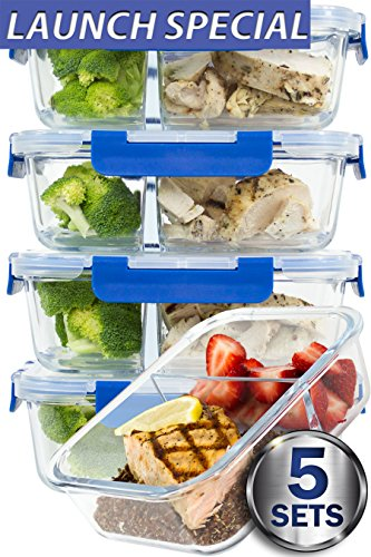 [LARGER PREMIUM 5 SET] 2 Compartment Glass Meal Prep Containers with Lifetime Lasting Snap Locking Lids Glass Food Containers BPA-Free, Microwave, Oven, Freezer and Dishwasher Safe (4.5 Cups, 36 (Snap Lid Gift)