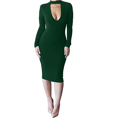 25ee0b6ce6f2 ALAIX Women's Keyhole Low-Cut Bodycon Long Sleeve Winter Evening Dinner Dress  Green-M