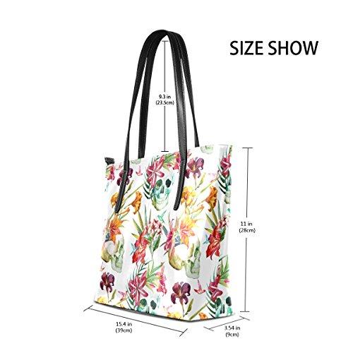 COOSUN Watercolor Skull Pattern mit Blumen PU Leder Schultertasche Handtasche und Handtaschen Tasche für Frauen