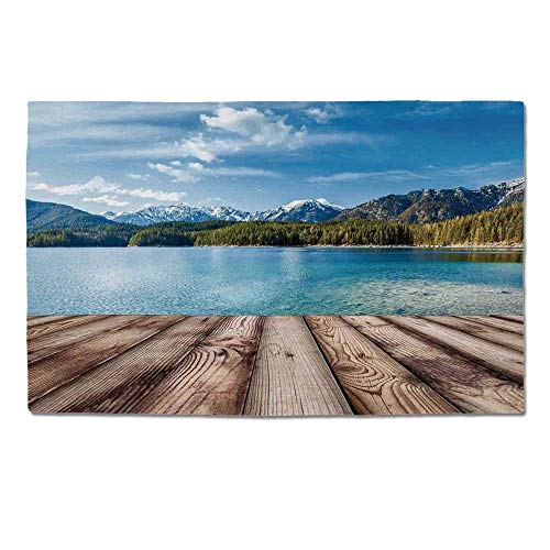 YOLIYANA Scenery Decor Durable Door Mat,Snowy Mountain Tops from Old Wood Deck Pier by Sea Idyllic Calm Coastal Charm for Home Office,One Size